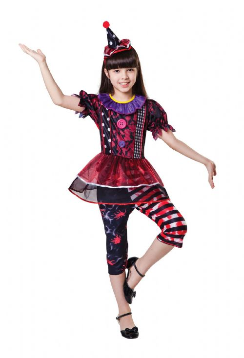 Girls Halloween Clown Girl Costume Trick Or Treat Fancy Dress Outfit